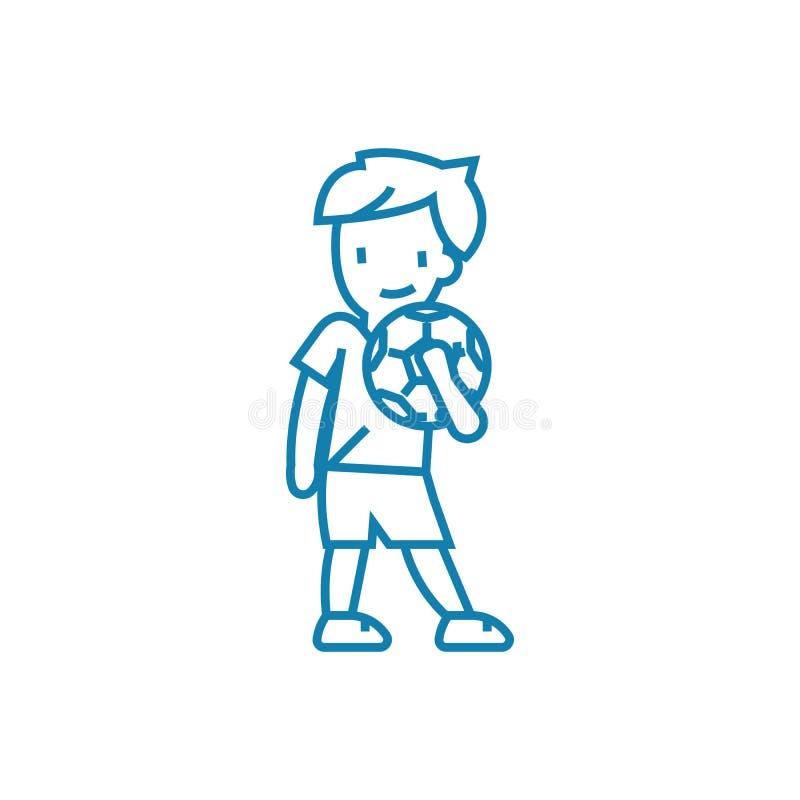 演奏橄榄球线性象概念 踢橄榄球排行传染媒介标志,标志,例证 向量例证