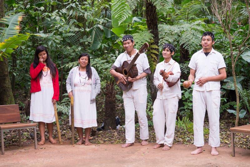 演奏歌曲的巴西人瓜拉尼人印地安传统执行者 库存照片