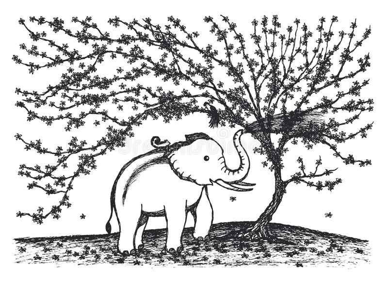 演奏水的婴孩大象在花树例证设计下 向量例证