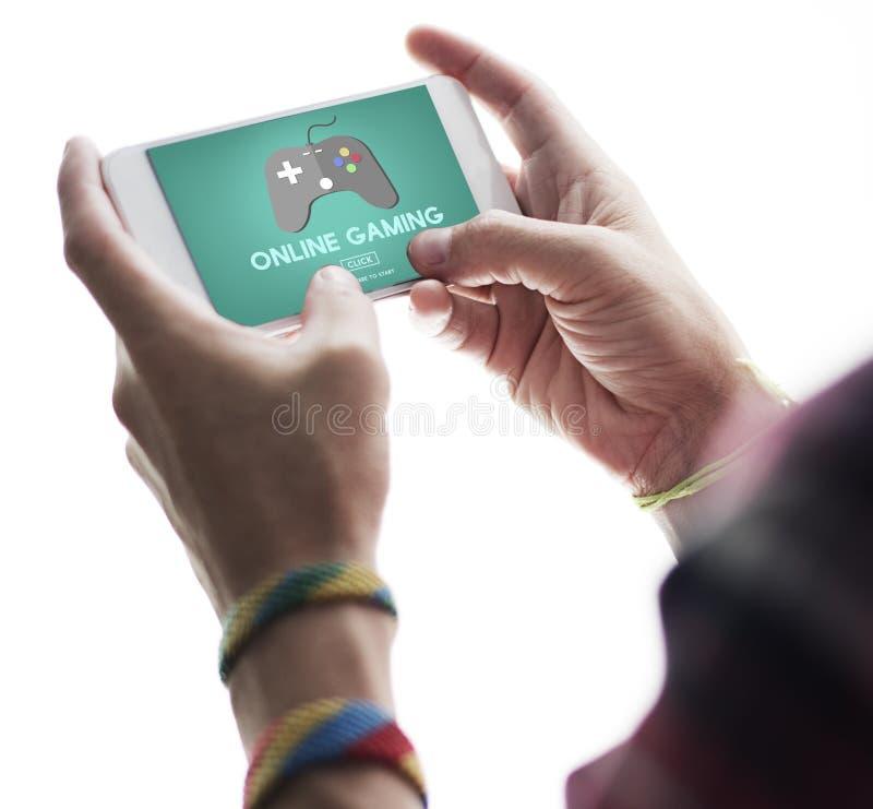 演奏爱好互联网战略概念的网上赌博 库存图片