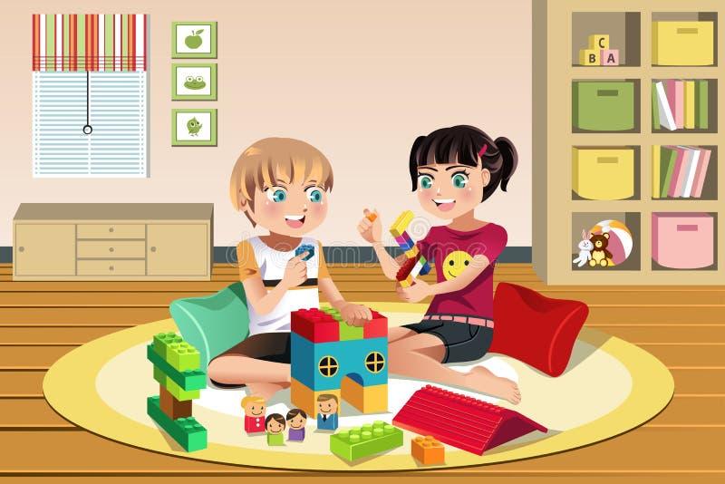 演奏玩具的孩子 库存例证