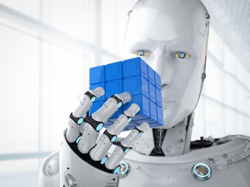 演奏立方体的机器人 皇族释放例证