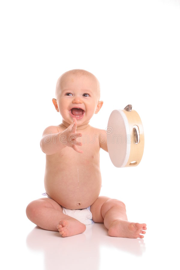 演奏端口tamborine的婴孩 库存图片