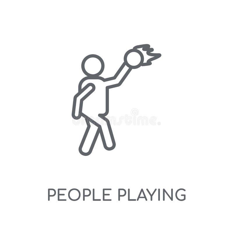 演奏篮球象线性象的人们 现代概述Peopl 库存例证