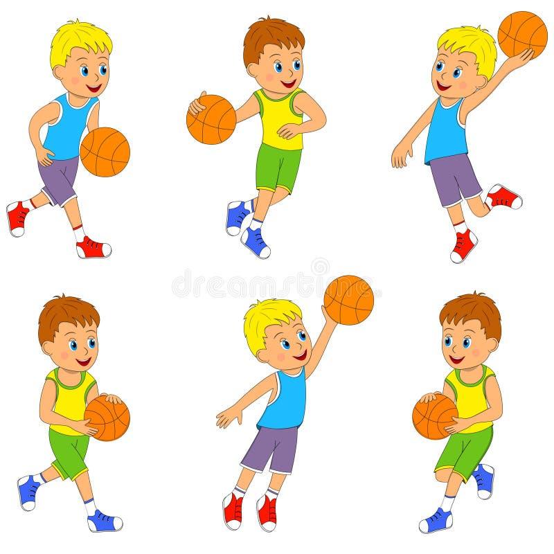演奏篮球集合的男孩 库存例证