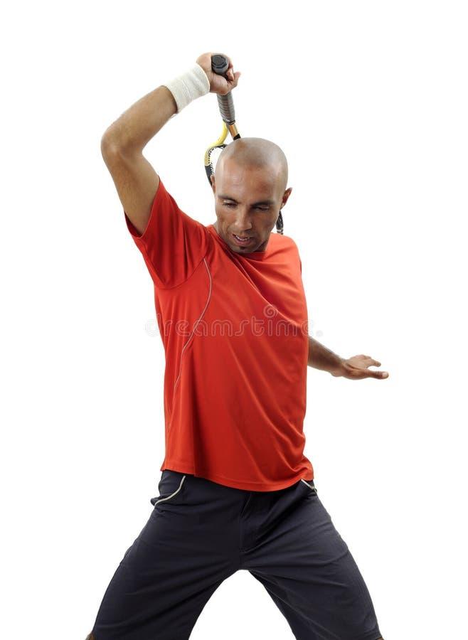 演奏纵向网球年轻人的可爱的人 免版税库存图片