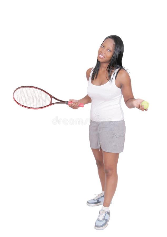 演奏网球妇女 图库摄影