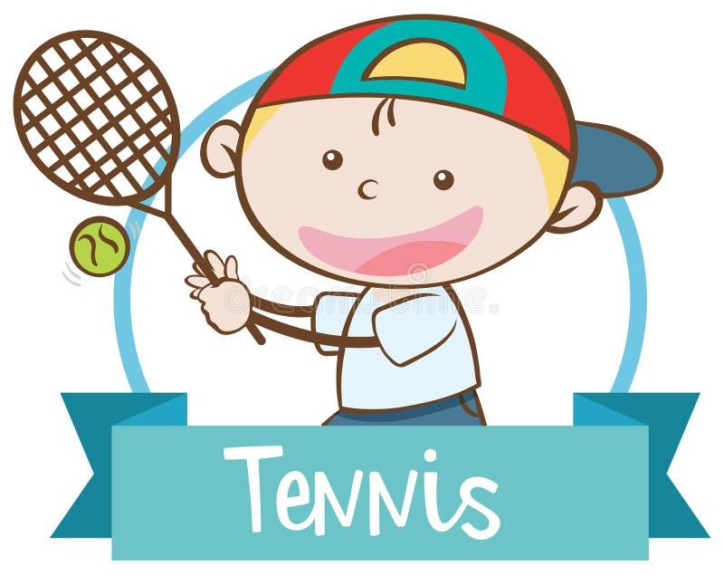 演奏网球横幅的男孩 皇族释放例证