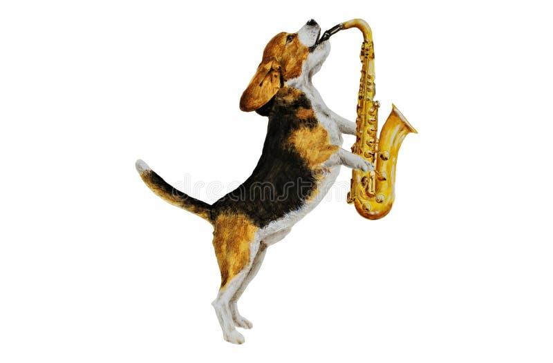 演奏萨克斯管油画的小猎犬 库存例证