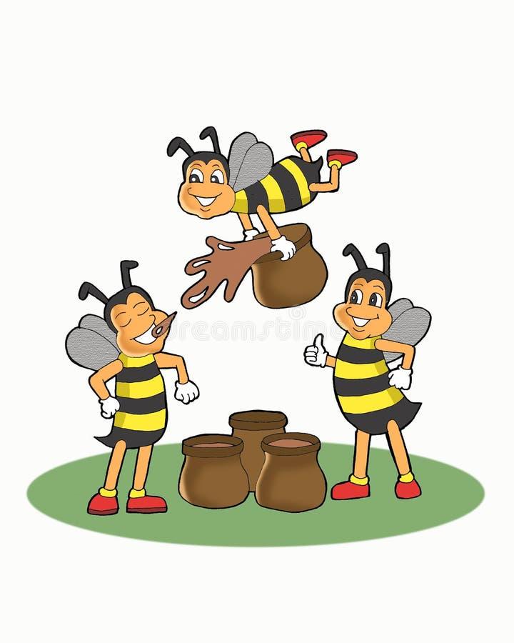 演奏蜂蜜动画片的蜜蜂 向量例证