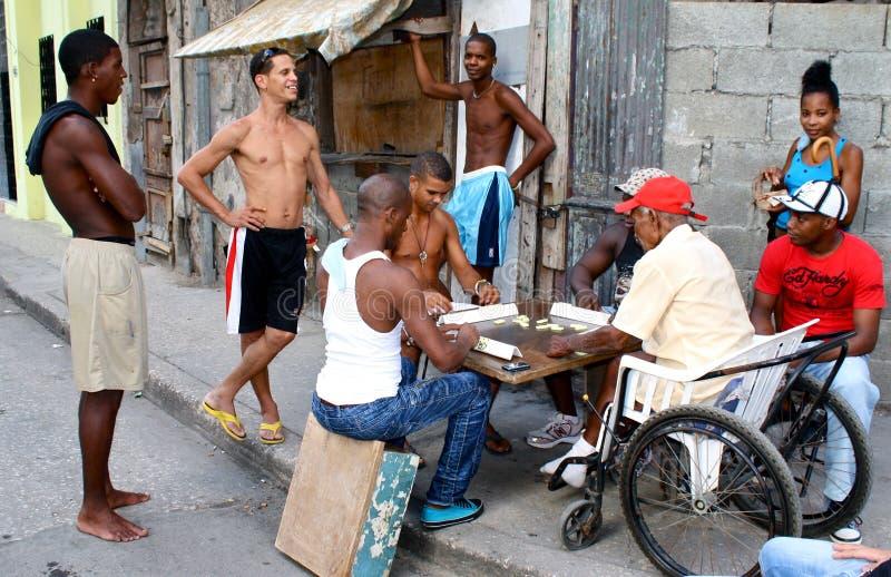 演奏街道的古巴Domino哈瓦那人 免版税库存照片