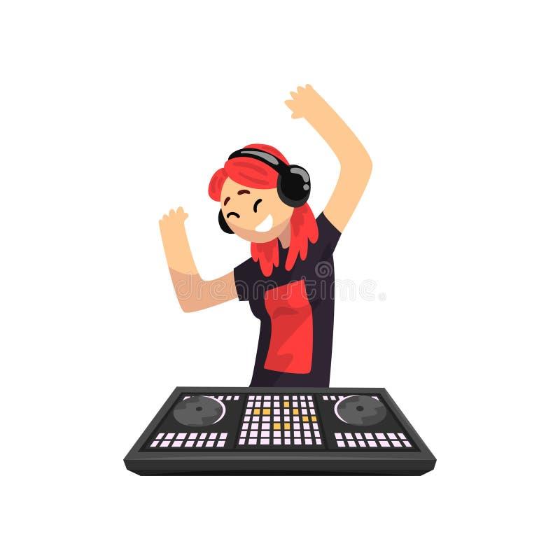 演奏轨道和跳舞,在搅拌器控制台甲板传染媒介例证的少妇混合的音乐的耳机的DJ女孩在a 库存例证