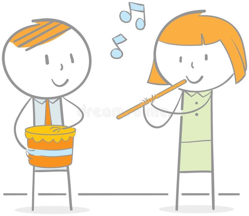 演奏长笛和鼓 皇族释放例证