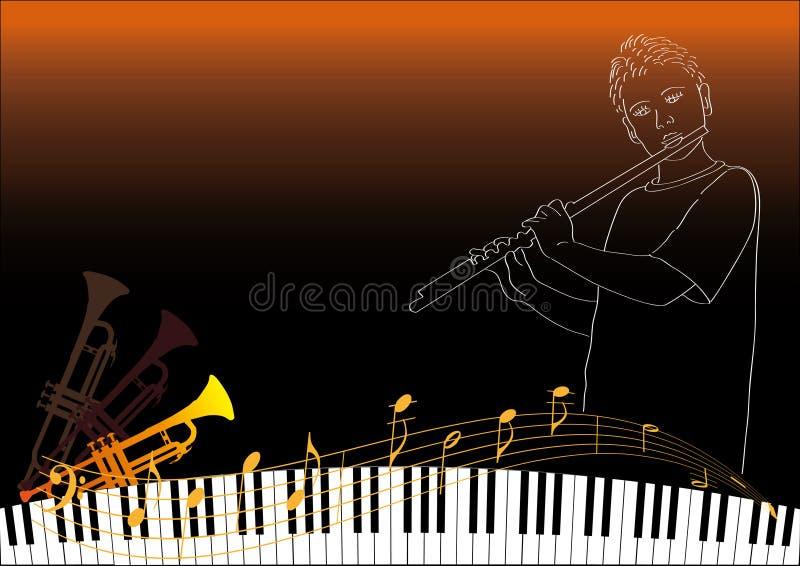 演奏长笛的男孩 免版税库存图片