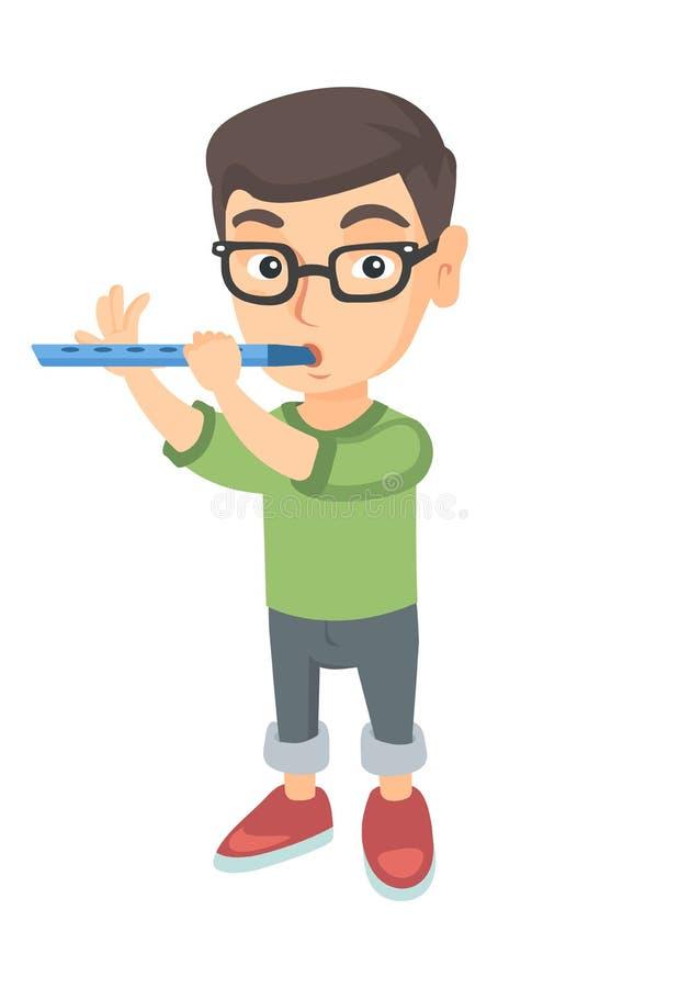 演奏长笛的白种人小男孩 库存例证