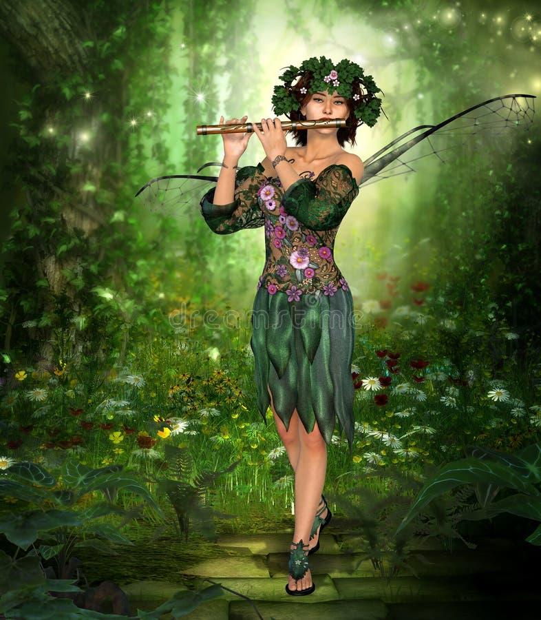 演奏长笛的迷人的神仙 皇族释放例证