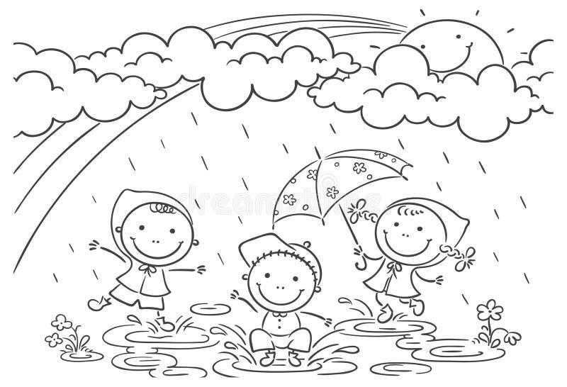 演奏雨的孩子 向量例证