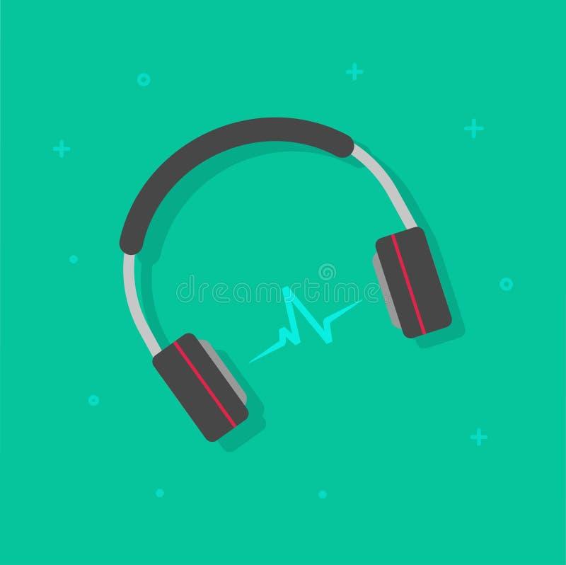演奏音乐传染媒介例证的耳机隔绝了,有声波clipart的耳机 库存例证