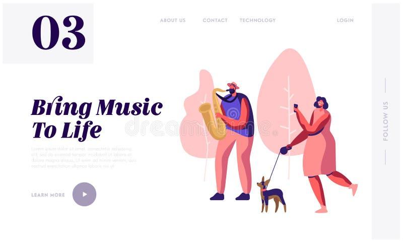 演奏音乐在公园,有狗观看的音乐会的妇女和拍摄演奏的萨克斯管吹奏者 向量例证