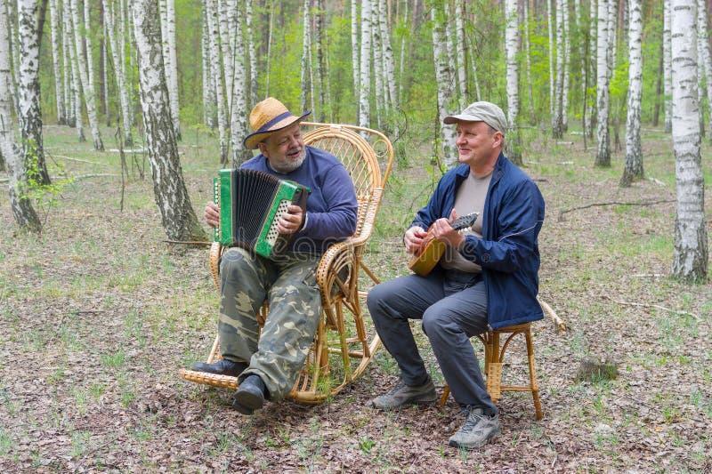 演奏音乐的两个前辈 免版税库存图片