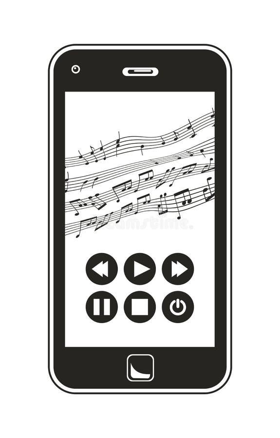 演奏音乐的巧妙的电话 向量例证