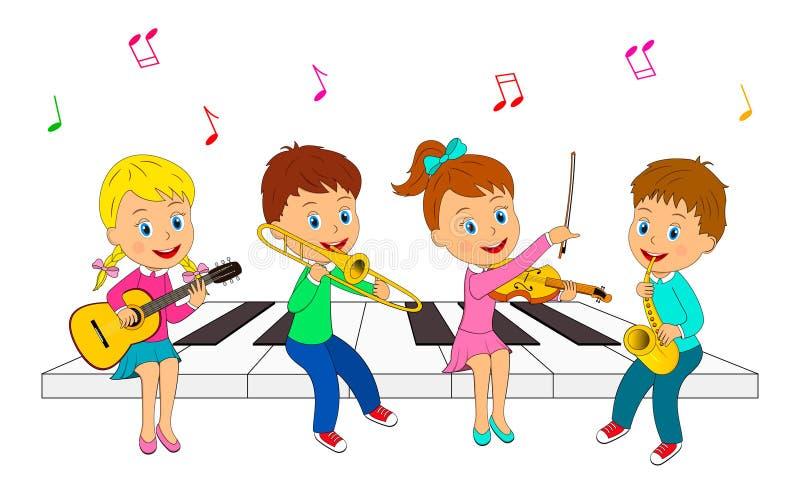 演奏音乐的男孩和女孩 皇族释放例证