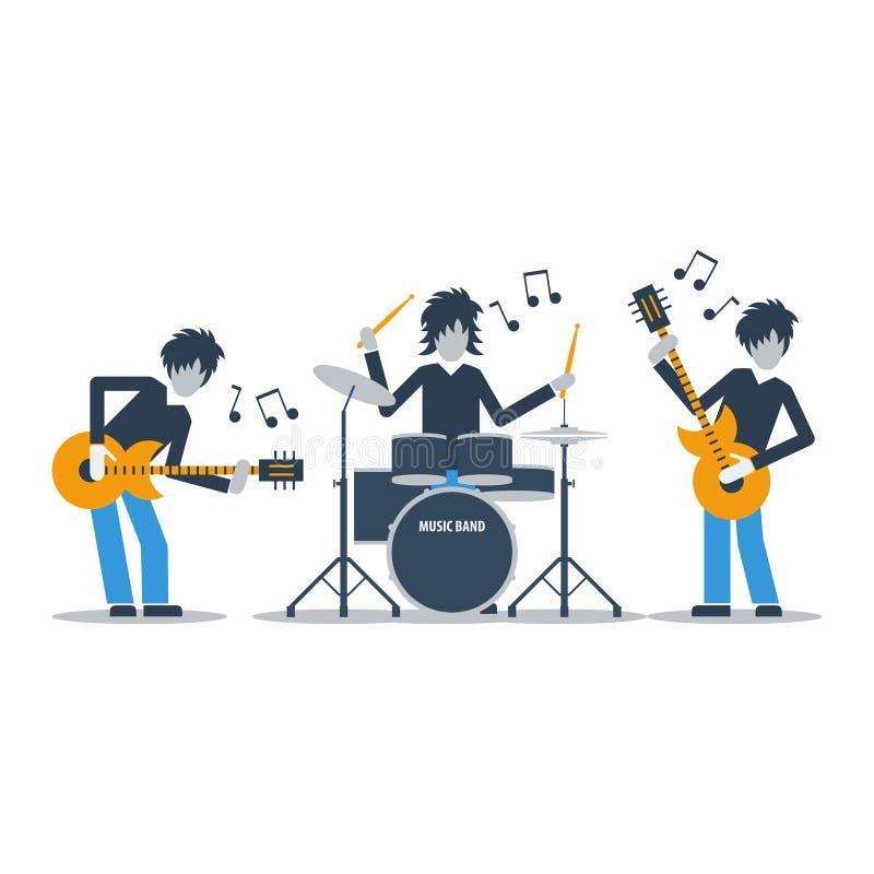 演奏音乐,三位音乐家,排练概念的吉他弹奏者和鼓 向量例证