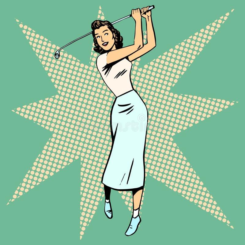 演奏高尔夫球减速火箭的流行艺术的美丽的妇女 库存例证