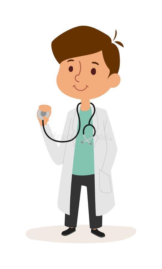 演奏医生漫画人物传染媒介的逗人喜爱的微笑的男孩全长画象  向量例证