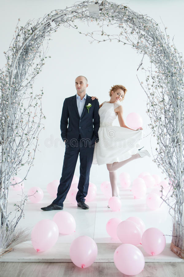 演播室婚礼摄影 免版税库存照片