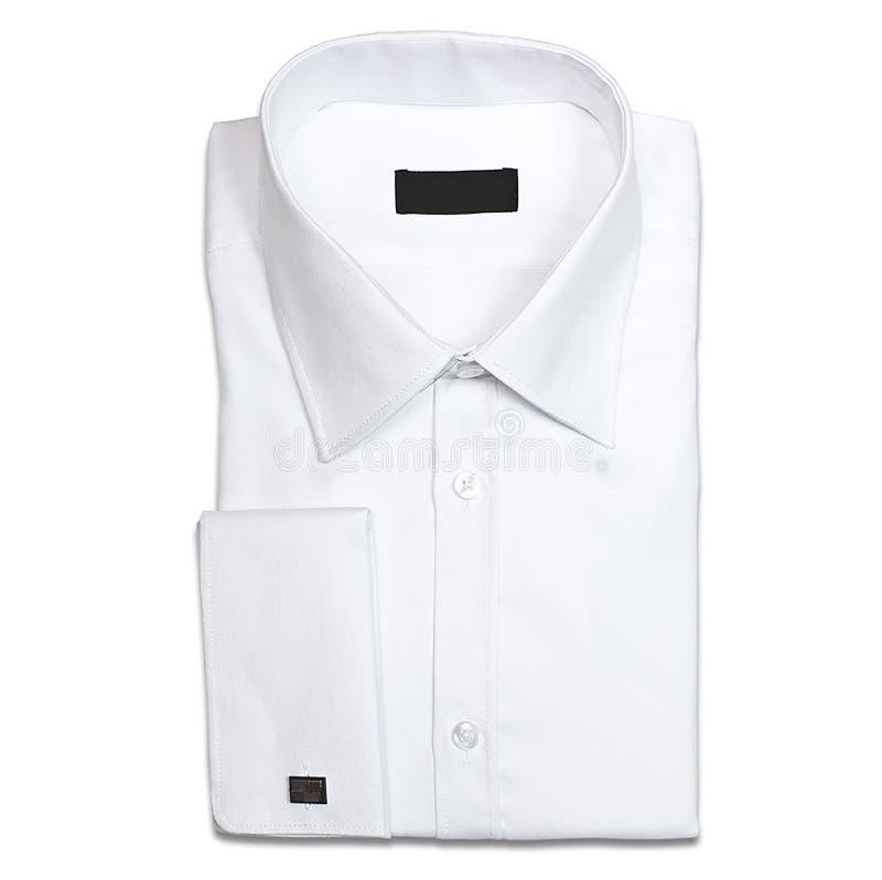 演播室射击了白人在白色背景的` s衬衣 库存照片