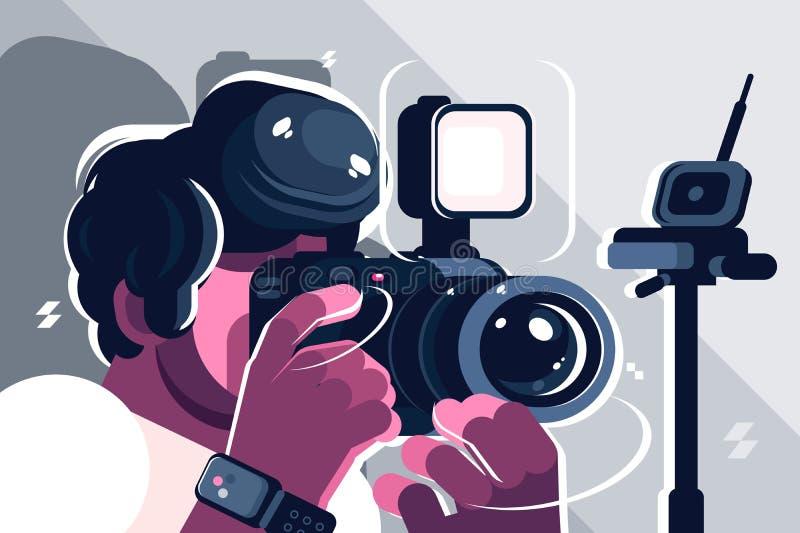 演播室时尚的摄影师 库存例证