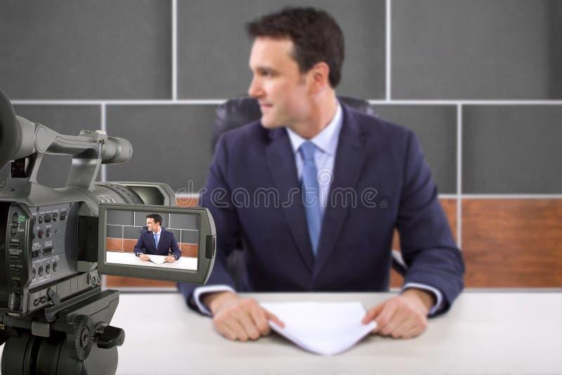 演播室照相机摄制记者 库存照片