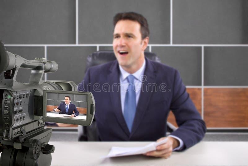 演播室照相机摄制记者 库存图片