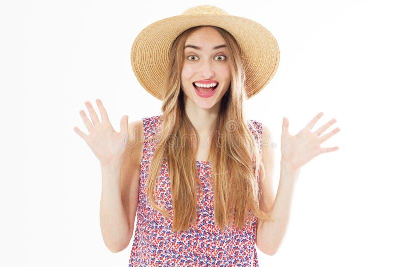 演播室画象的夏天情感微笑的妇女 库存图片