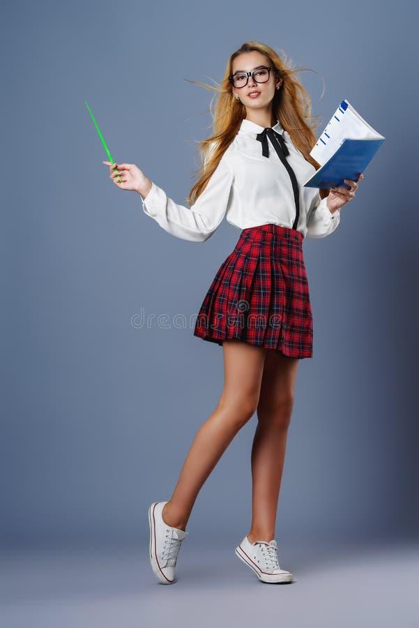 演播室的学生女孩 图库摄影