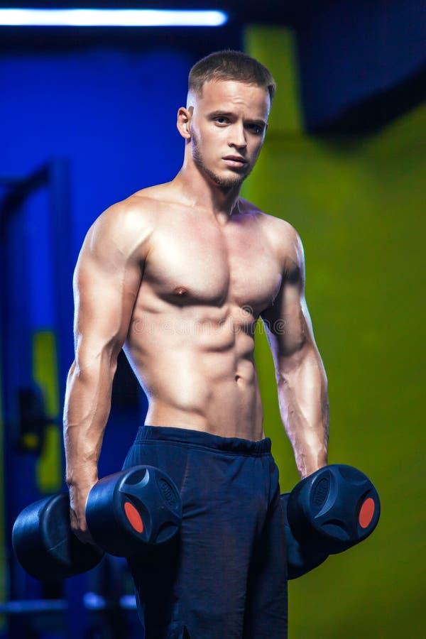 演播室被射击一个男性模型在两只手中的举行哑铃在健身房 解决赤裸上身的肌肉的人 健康和 免版税库存照片