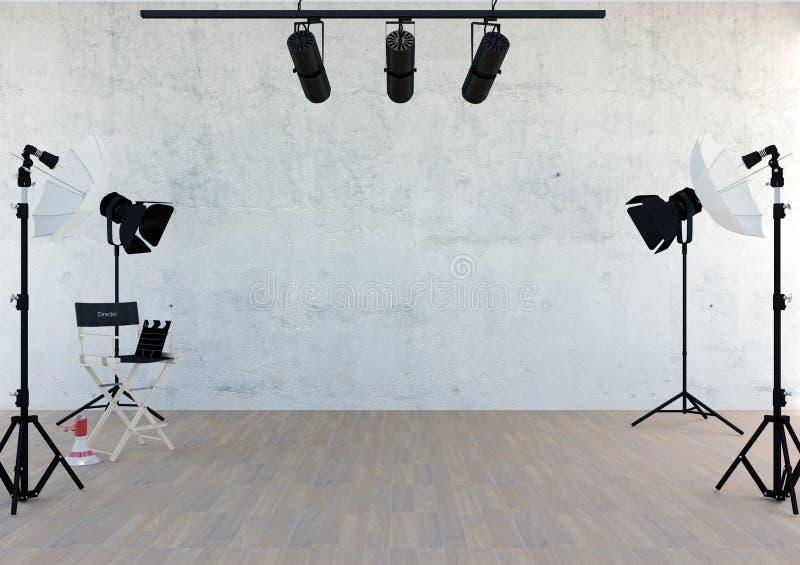 演播室设备在有空的空间的演播室屋子里 向量例证
