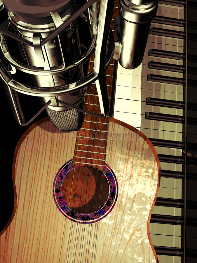 演播室钢琴和吉他 向量例证