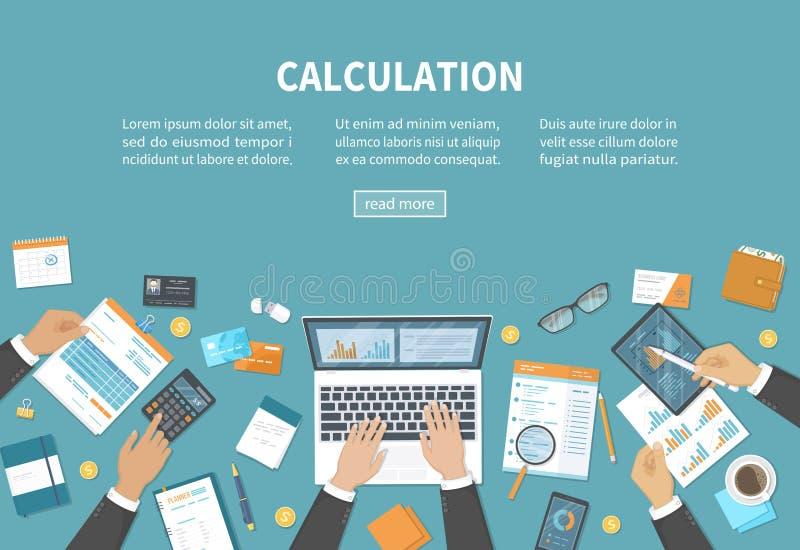 演算概念 簿记,审计,数据分析,报告,税务会计 人们在工作 在桌上的商人手 库存例证