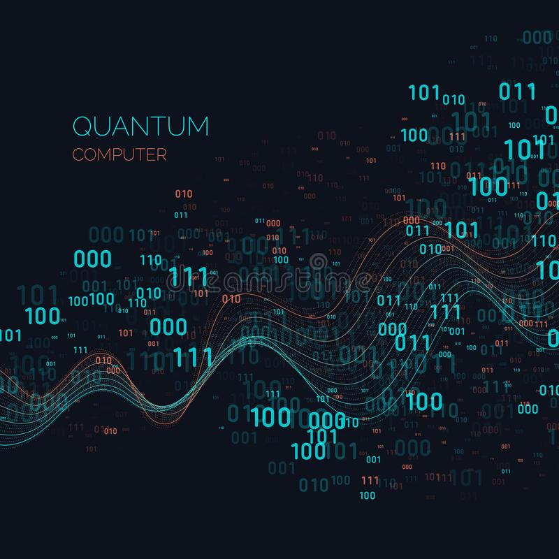 演算量子计算机 分析和数据传送 皇族释放例证