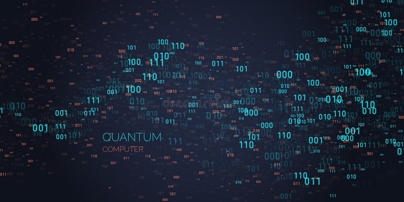 演算量子计算机 分析和数据传送 向量例证