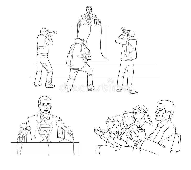 演说者在有话筒的一个指挥台后站立 报告人写一个报告对公众 摄影师拍照片 投反对票 库存例证