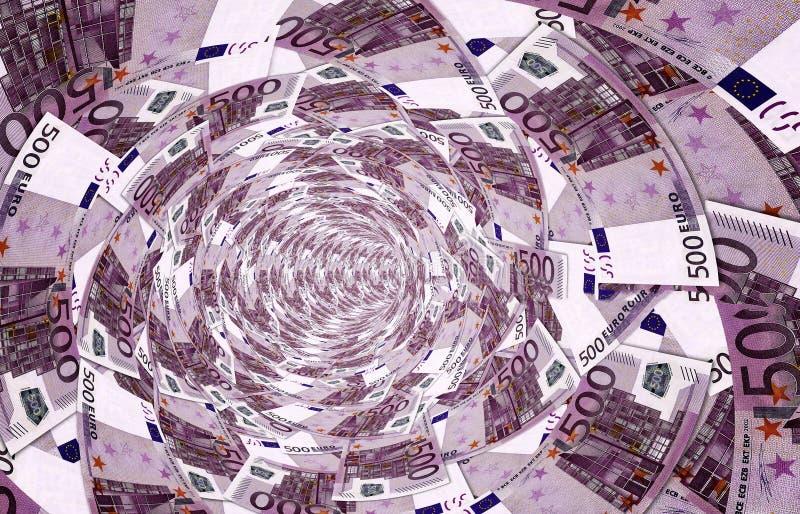 漩涡由500做成, -欧洲钞票 向量例证