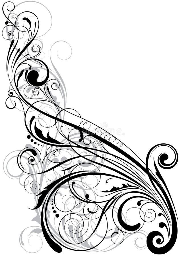 漩涡花卉元素 库存例证
