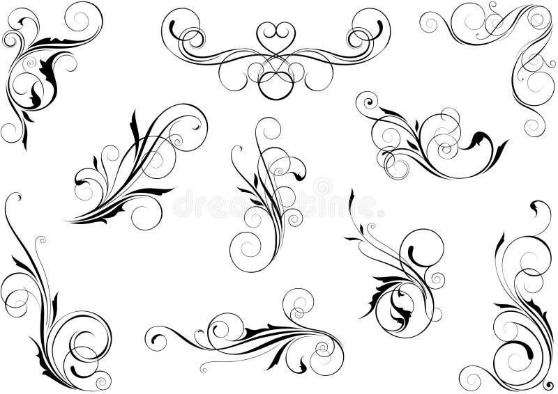 漩涡花卉集合 向量例证