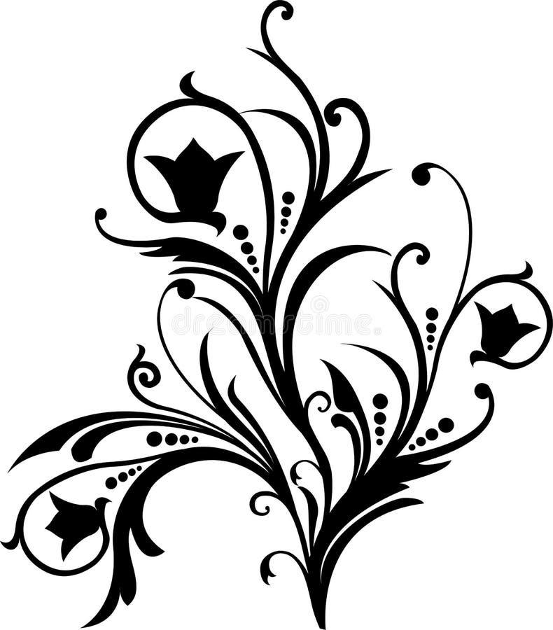 漩涡花饰装饰滚动向量 库存例证