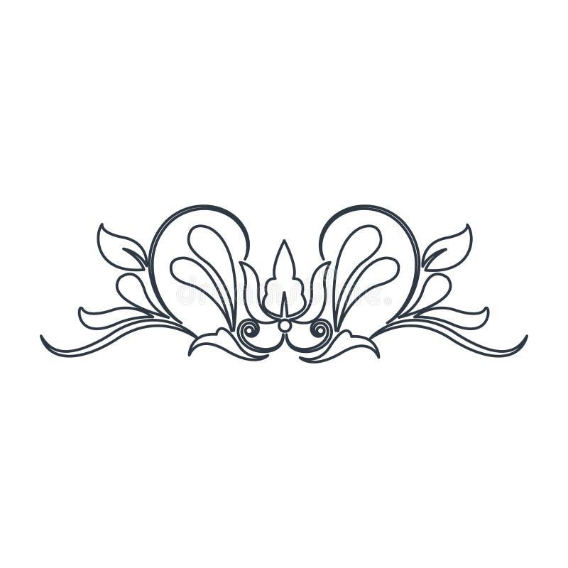 漩涡葡萄酒巴洛克式的装饰品样式线 皇族释放例证