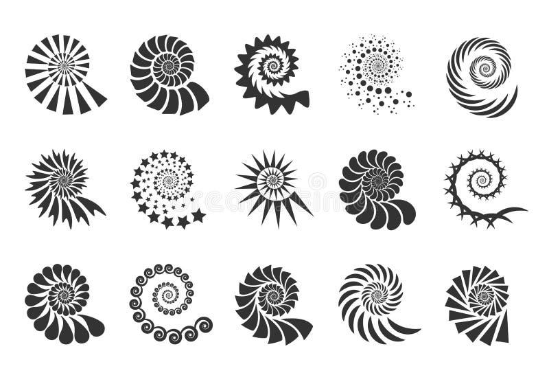 漩涡设计元素 螺旋象 设置扭转在白色背景隔绝的线 贝壳传染媒介 向量例证