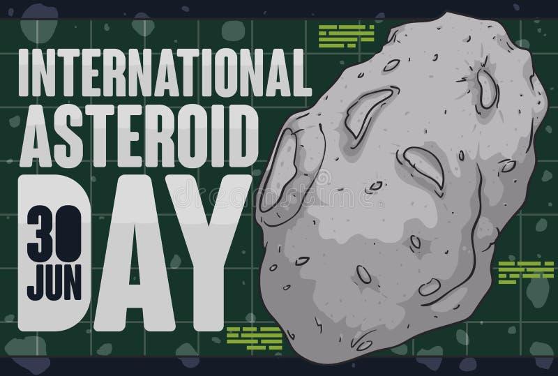 漫步在小游星地带的Planetoid在小行星天庆祝,传染媒介例证时 皇族释放例证